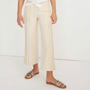 MADEWELL Emmett Wide-Leg Crop Pants, Yellow Stripe